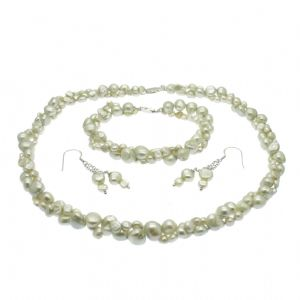 Grey Pearl Necklace Bracelet & Earring Set Double Strand Baroque Pearls